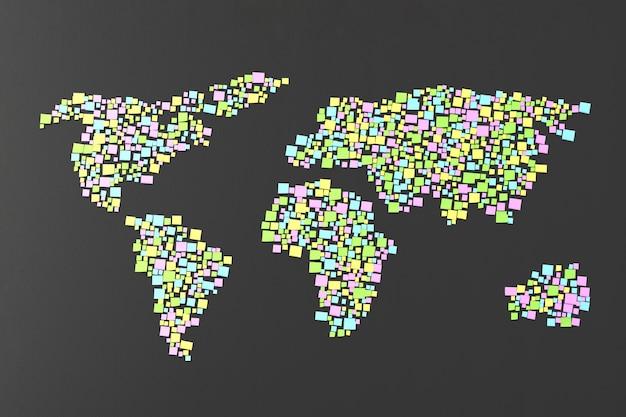 Viele aufkleber klebten an der wand in form von silhouetten der kontinent-3d-illustration
