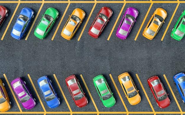 Viele autos parkten