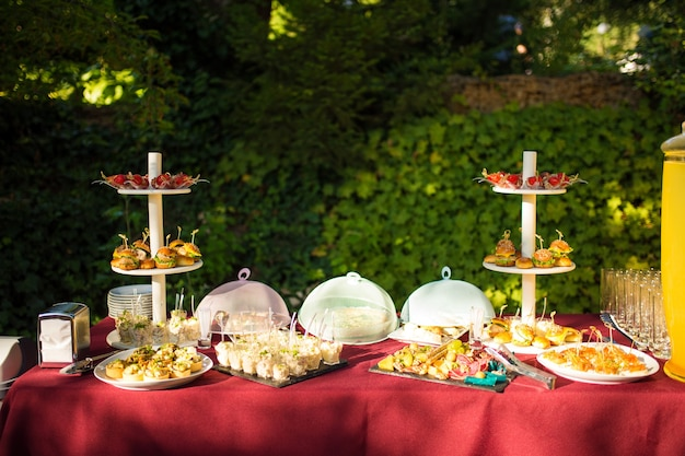 Viele buffetsnacks am catering-tisch