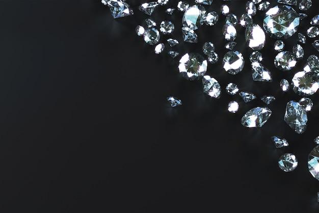 Viele edelsteine, die seitlich von wellen auf einem schwarzen hintergrund verstreut werden. 3d-rendering