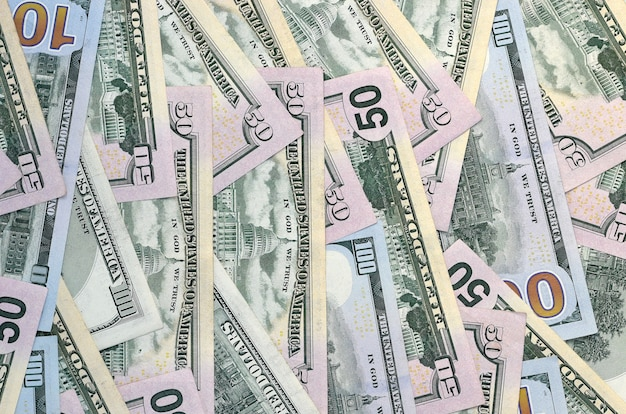 Viele einhundertfünfzig dollarnoten