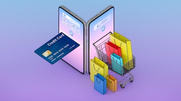 Viele einkaufstaschen, preisschilder und kreditkarten in einem einkaufswagen wurden auf dem bildschirm des smartphones angezeigt