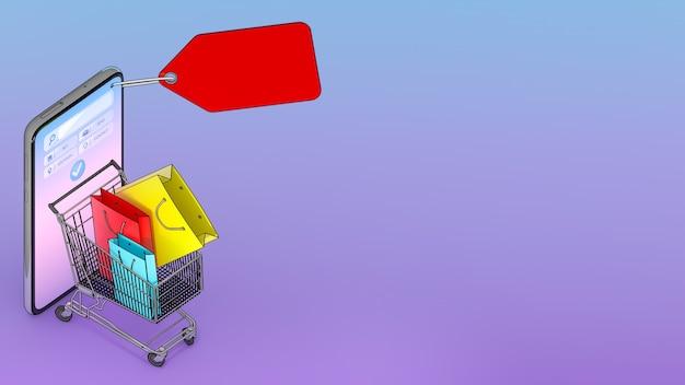 Viele einkaufstaschen und preisschilder in einem einkaufswagen erschienen vom smartphone-bildschirm., online-shopping oder shopaholic-konzept., 3d-illustration mit objektbeschneidungspfad.