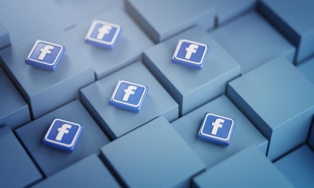 Viele facebook-logos auf blauen würfeln
