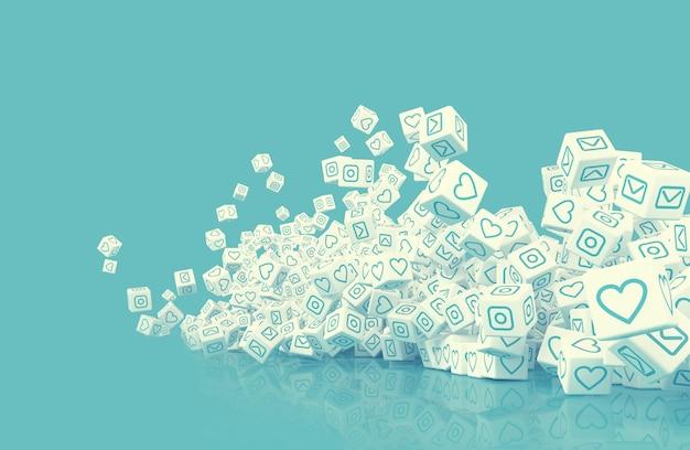 Viele fallende würfel mit symbolen für social-media-aktivitäten. 3d-illustration