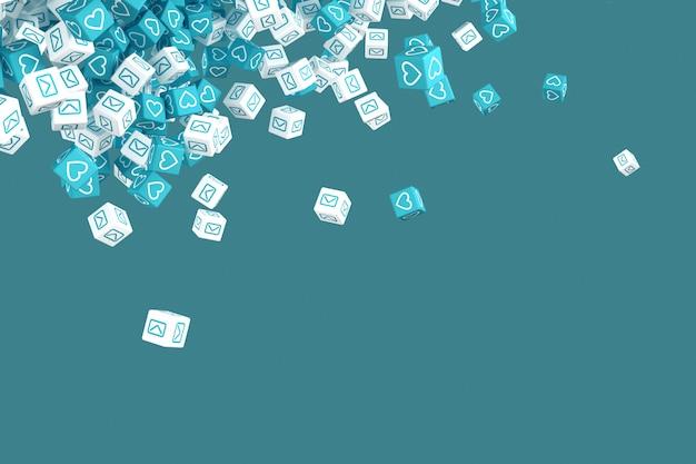 Viele fallenden blöcke mit bildern der illustration des social media 3d