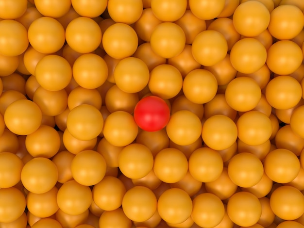 Viele gelbe bälle mit einem roten ball in der mitte