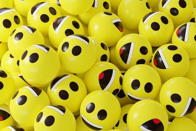 Viele gelbe emoji-emoticons 3d. gesichtsreaktion.