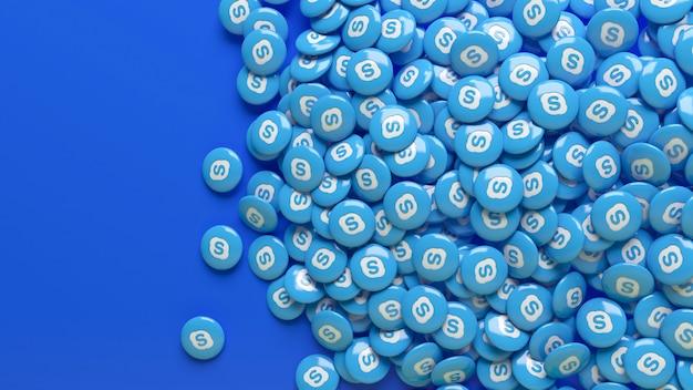 Viele glänzende 3d-skype-pillen über einem blauen hintergrund