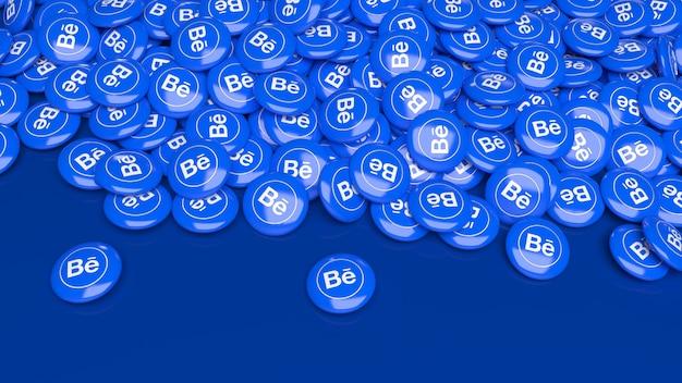 Viele glänzende pillen des 3d-verhaltens über einem dunklen blau