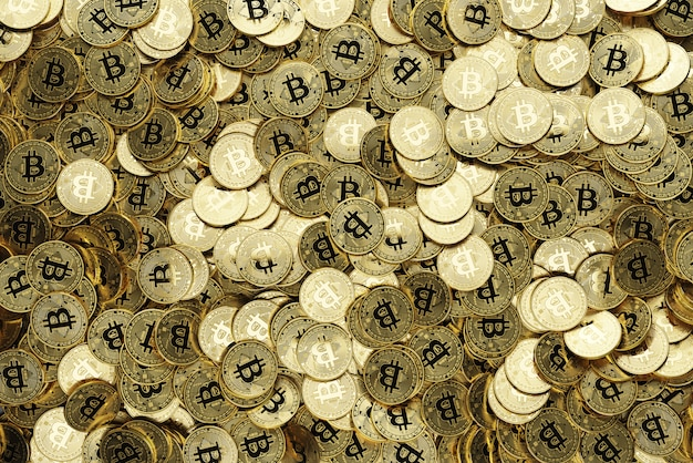 Viele goldene bitcoins, 3d