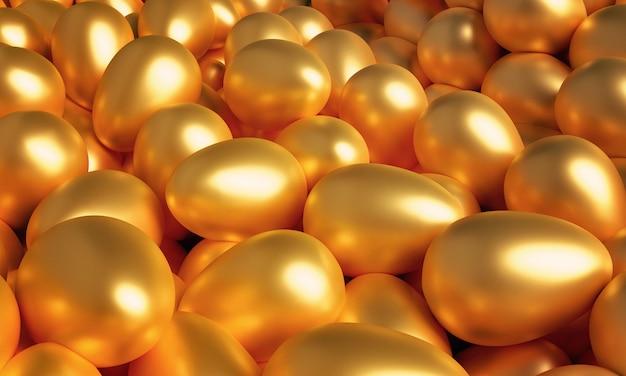 Viele goldene eier. 3d darstellung