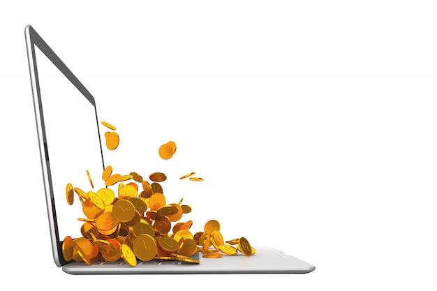 Viele goldmünzen, die aus der 3d-illustration des laptopmonitors herauslaufen