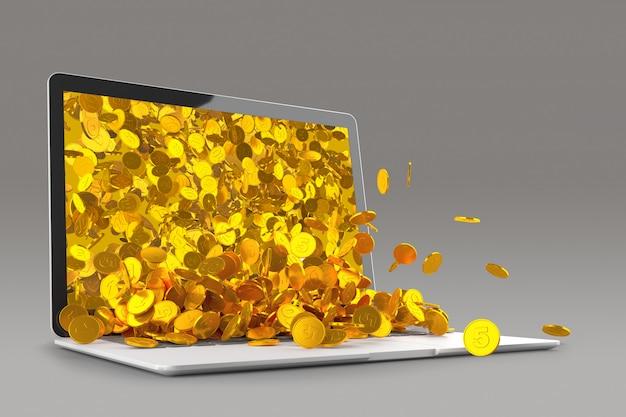 Viele goldmünzen werden aus dem 3d-rendering des laptop-monitors verschüttet