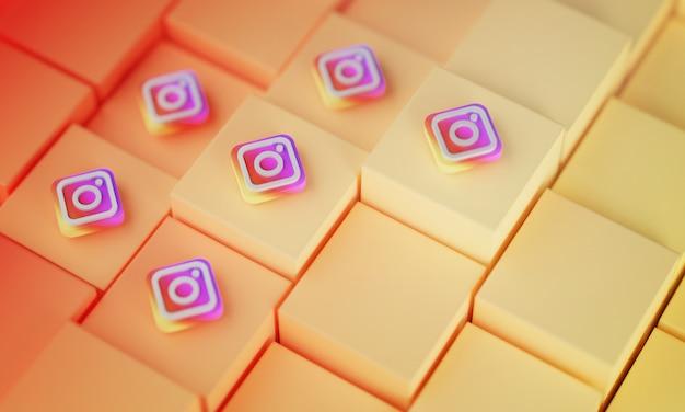 Viele instagram-logos auf gelben würfeln