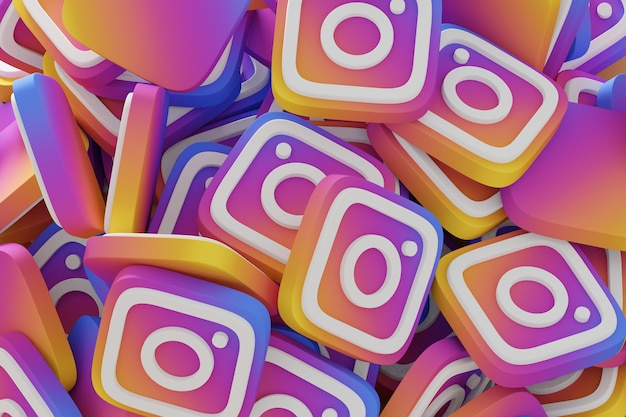 Viele instagram-symbole 3d rendern nahaufnahme.