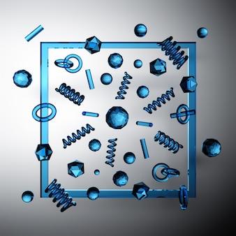Viele kleinen geometrischen formprimitive des blauen glases, die in raum mit schwarzem rechteck fliegen.