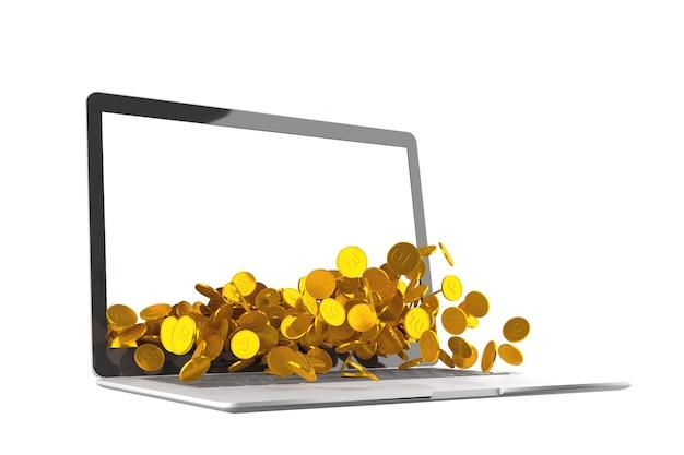 Viele münzen, die aus laptop auf weißem hintergrund verschüttet werden