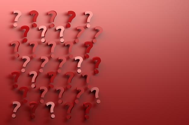 Viele nach dem zufallsprinzip angeordnete rote fragezeichen auf rotem hintergrund.