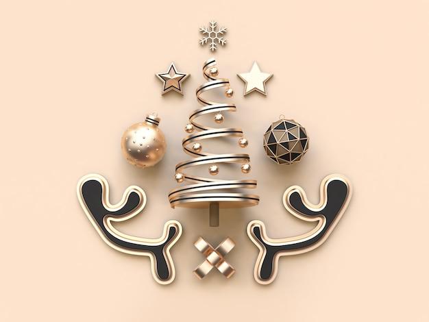 Viele objekt weihnachten konzept rendering minimal weicher sahne hintergrund