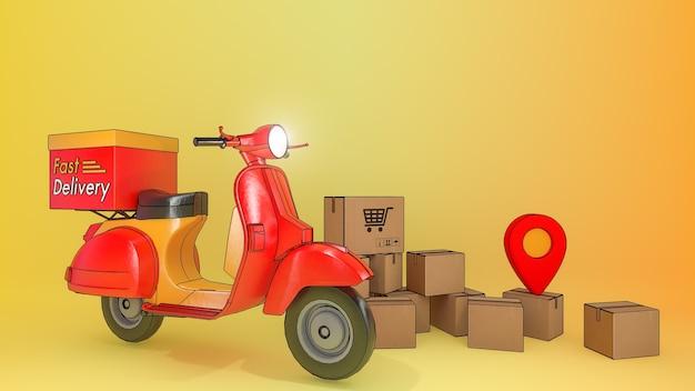 Viele paketbox mit roller