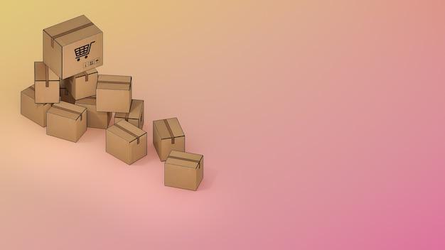Viele paketboxen., online-mobilanwendung bestellen transportservice und online-shopping und zustellkonzept., 3d-rendering.