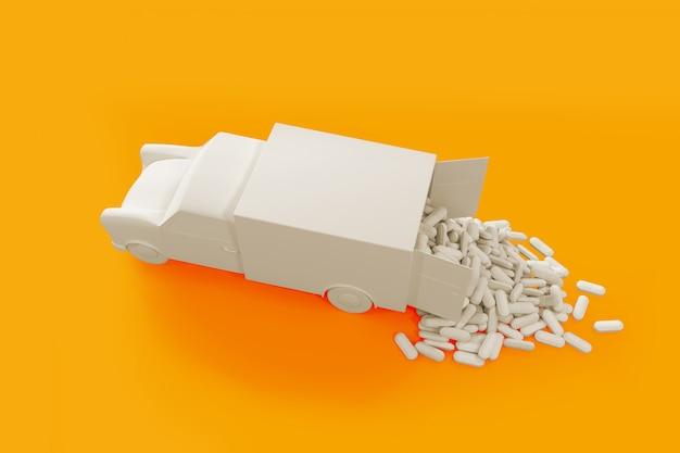 Viele pillen, die aus dem auto heraus verschüttet werden