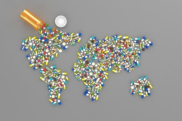 Viele pillen verstreut auf dem tisch in form von karten welt