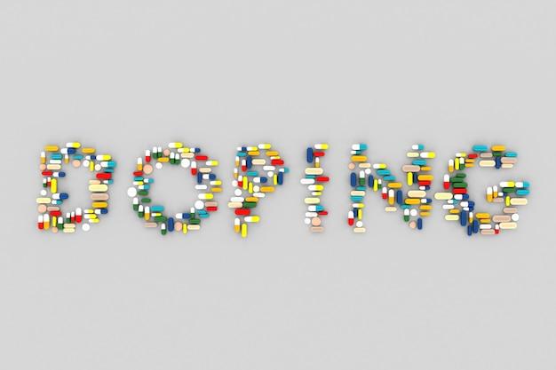 Viele pillen zerstreuten auf einem blauen hintergrund in form des wortes doping