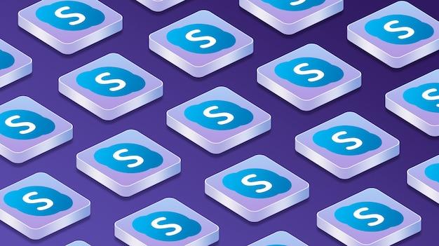 Viele plattformen mit skype-logo-symbolen für soziale netzwerke 3d