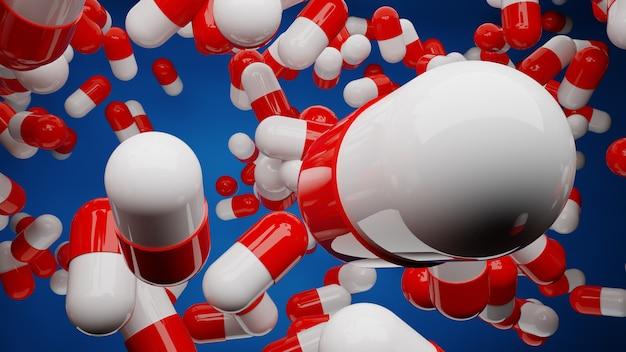 Viele rote und weiße medizinpillen, die in der luft auf blauem hintergrund d illustration schweben