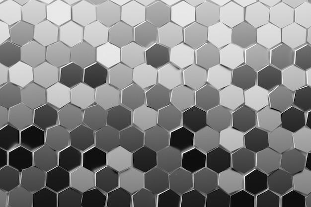 Viele sich wiederholende sechsecke in vielen grauschatten. mehrfarbige sechsecke nach dem zufallsprinzip angeordnet. geometrisches dreidimensionales muster mit hexagonen.
