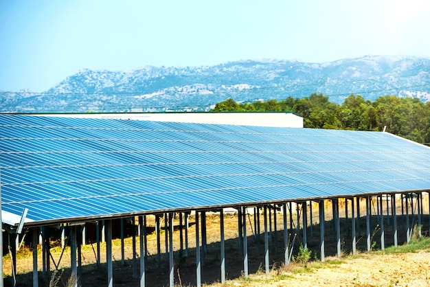 Viele sonnenkollektoren, die grüne, umweltfreundliche energie mit strahlender sonne am blauen himmel produzieren