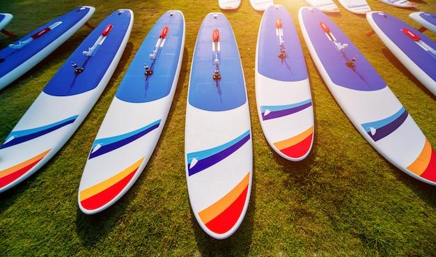 Viele surfbretter am strand. hintergrund.