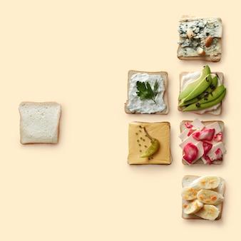 Viele verschiedene sandwiches mit einer vielzahl gesunder zutaten