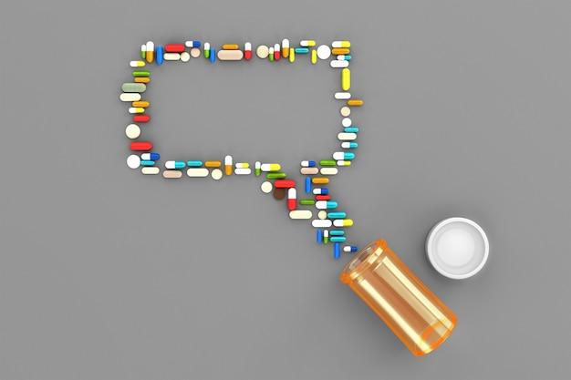 Viele verstreute pillen in form von nachrichten aus dem sozialen netzwerk. 3d darstellung