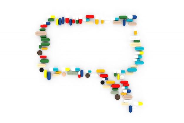 Viele verstreute pillen in form von nachrichten aus dem sozialen netzwerk. 3d-illustration