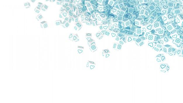 Viele verstreute würfel mit symbolen sozialer netzwerke. 3d-illustration