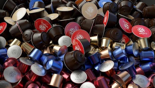 Viele verwendeten kaffeekapseln. abfallproblem. mit dem symbol.