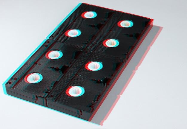 Viele videobänder auf weiß. retro-stil