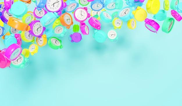 Viele wecker aller farben schweben in der luft mit platz für text 3d-rendering