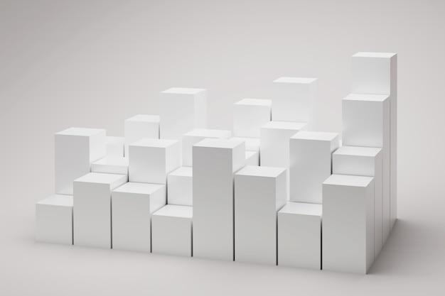 Viele würfel auf weißem hintergrund d abbildung quadratische blöcke podeste für präsentationsprodukt