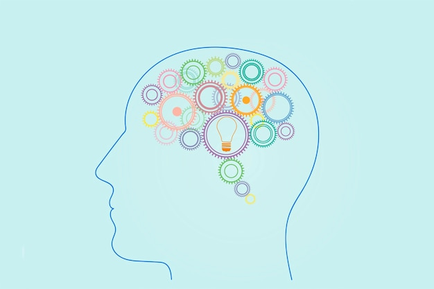 Viele zahnräder in verschiedenen farben und eine glühbirne in der kopfseitenansicht einer person, das konzept, ideen zu generieren, zu denken, zu erfinden.