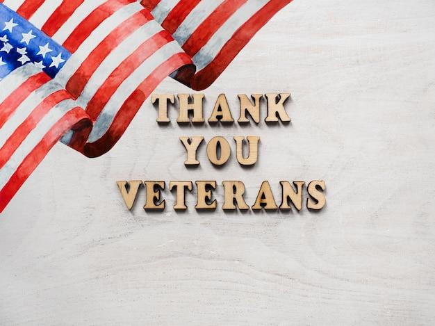 Vielen dank, veteranen. glückwunschsatz. nahaufnahme, ansicht von oben.