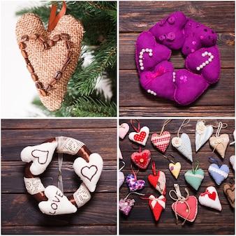 Vielfalt an textil- und holzherzen auf dem weihnachtsmarkt. valentinstag
