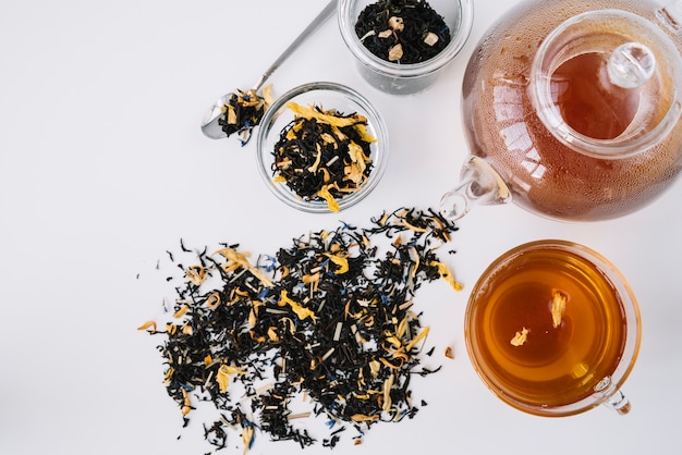 Vielzahl der draufsicht der teezusammenstellungen