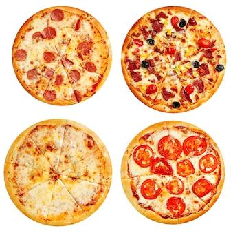 Vielzahl von isolierten pizzas menü collage disign