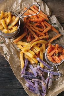 Vielzahl von pommes frites