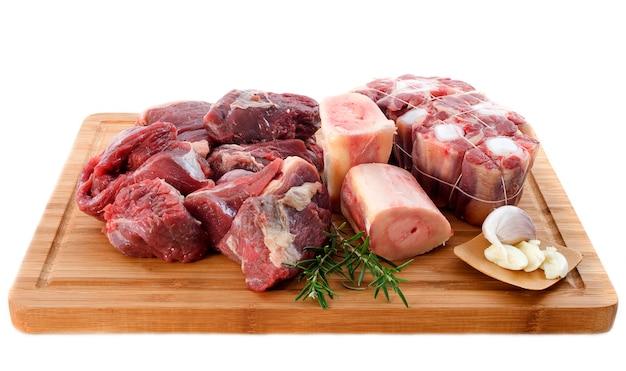Vielzahl von rindfleisch auf schneidebrett