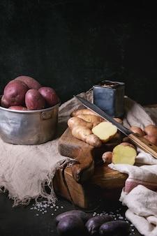 Vielzahl von rohen kartoffeln